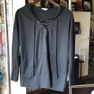 Caslon lace up hooded sweatshirt. black